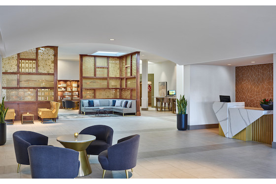 Lobby at the Sheraton Portland Airport Hotel following a US$7.5 million revamp, the hotel's first since 2005