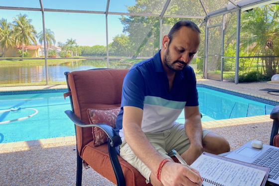 Chintan Dadhich at work in his lockdown office in Florida.