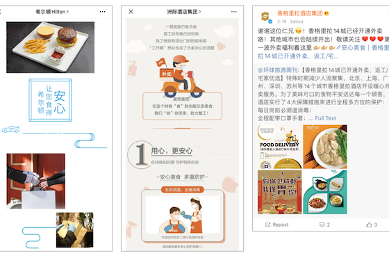 Food delivery services are a valuable revenue source for the financially hard-hit hospitality industry. Left to right: promotions from Hilton, IHG and Shangri-la.