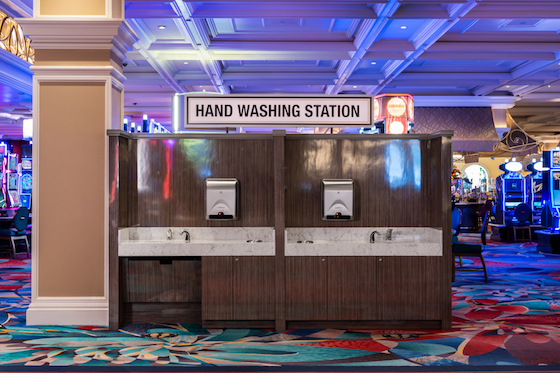 A hand-washing station in the casino area of the Bellagio in Las Vegas