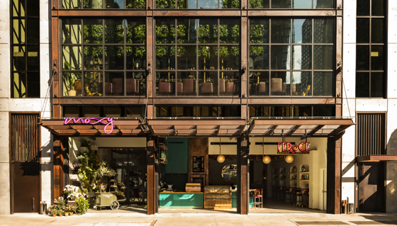 Entrance to the Moxy in New York City's Chelsea neighborhood