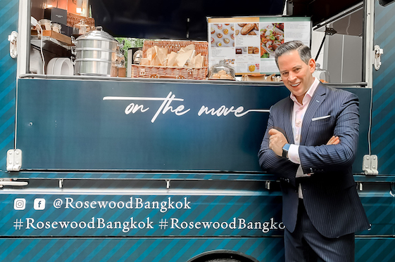 Thomas Harlander by Rosewood Bangkok's On The Move Drive-Through's pick-up, in the hotel's porte cochère