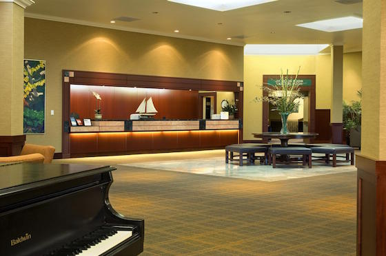 Lobby at the 215-room Sheraton Portland Airport Hotel prior to a US$7.5 million renovation