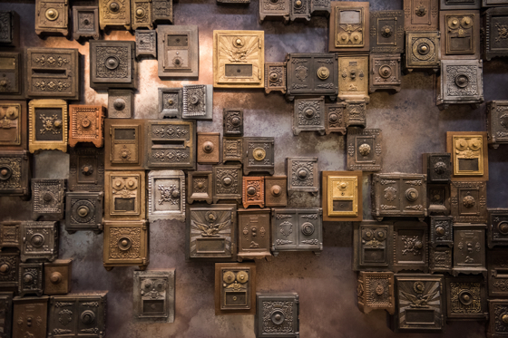 Magnolia's lobby art-installation of vintage vaults and bank machines